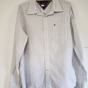 TOMMY JEANS VINTAGED STRIPED BUTTON DOWN L